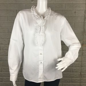 Orvis Tie Neck Button Down Top Career Style White